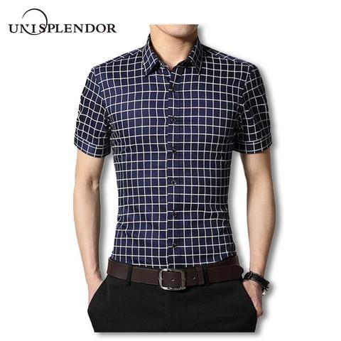 aa8be184c 2018 Summer Men Dress Shirts Male Short Sleeve Plaid Shirt Cottonliligla