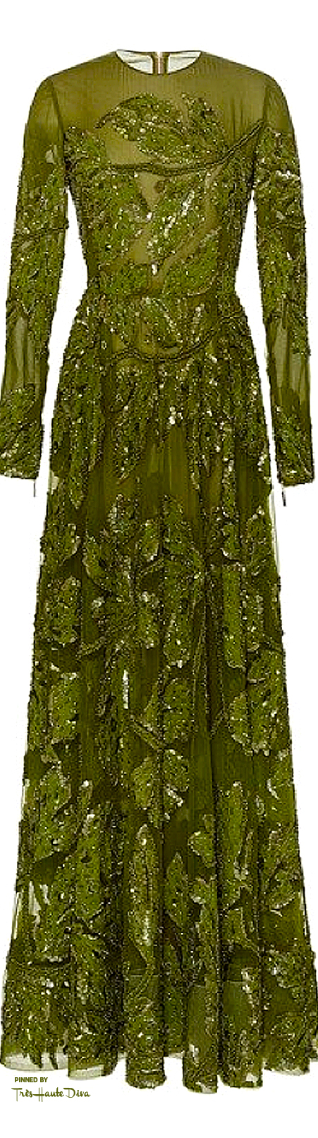 Elie Saab Fall 2015 RTW Green Embroidered Tulle Long Sleeve Gown ♔THD♔