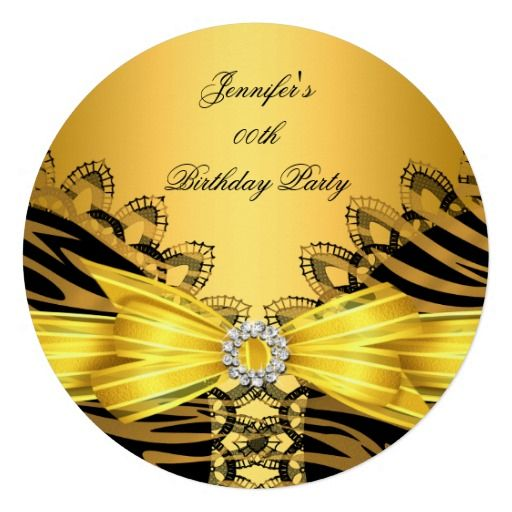 Birthday Party Zebra Gold Black Lace Diamond Top