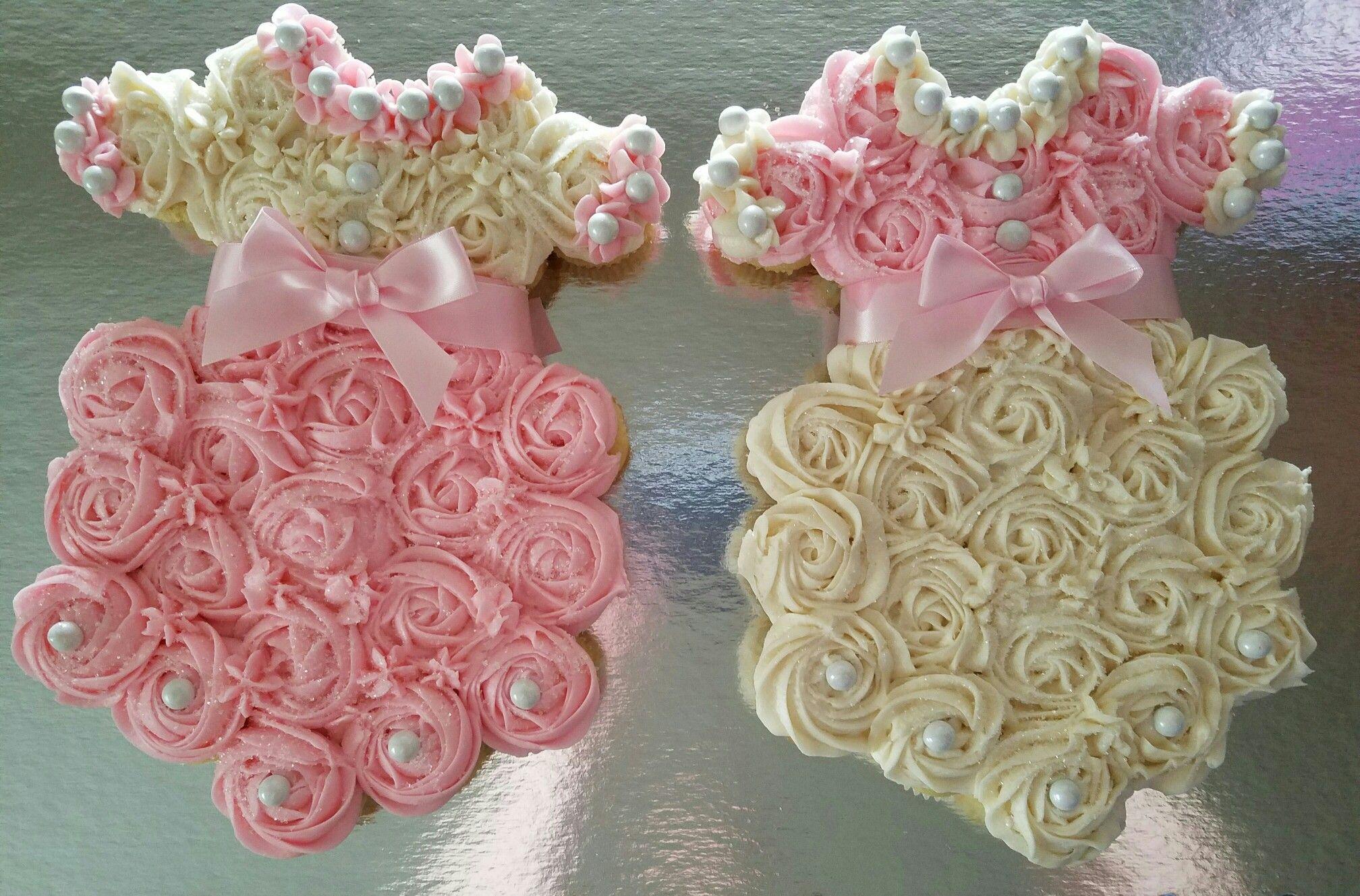 Twins Baby Girl Dress Pull Apart Cupcake Cake Baby Shower