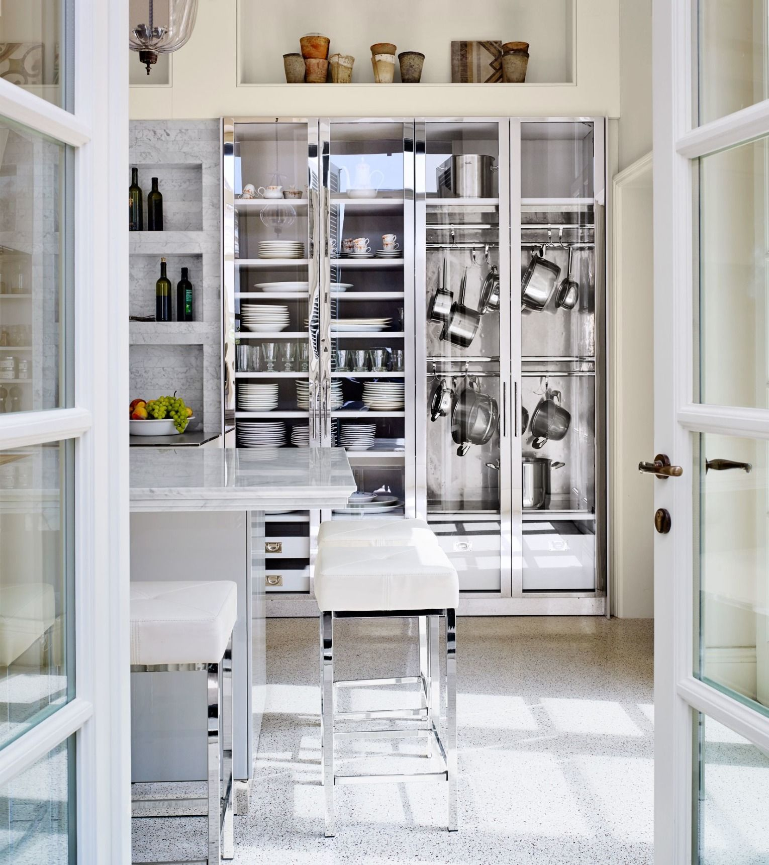 Glass Front Metal Boy Cabinets From The De Giulio Collection Display