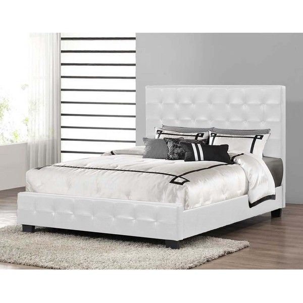 Baxton Studio Manchester Modern Platform Bed in White ($329) ❤ liked on Polyvore featuring home, furniture, beds, white, white bed, tufted queen bed, modern queen bed, white queen headboard and queen padded headboard