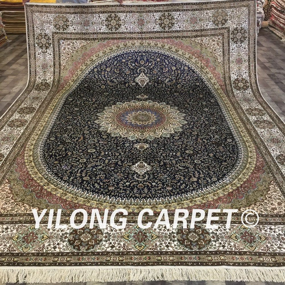 Yilong 9 X12 Handmake Persian Large Rug Antique Blue Silk Carpets Lh165a9x12 Silk Carpet Large Carpet Large Rugs