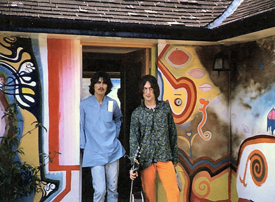 Very rare (unique to my knowledge) shot of John Lennon and George Harrison together at Kinfauns in Esher. Restored and repaired. Taken by a visiting fan