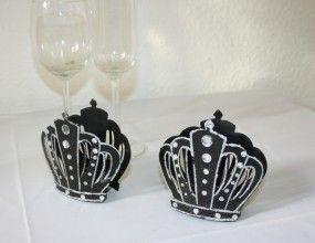 Teelichthalter Krone schwarz für Gothichochzeit