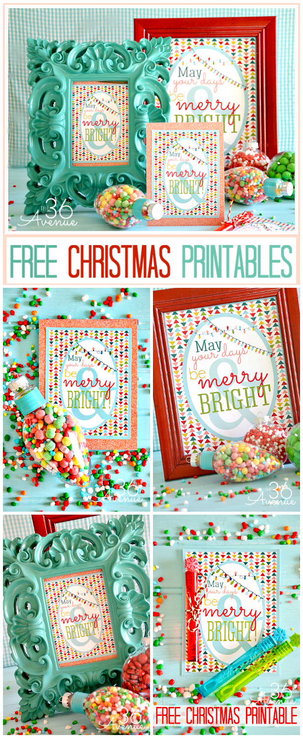 Adorable FREE CHRISTMAS PRINTABLES at the36thavenue.com ...So Merry and Bright! #pritables #Christmas #gifts