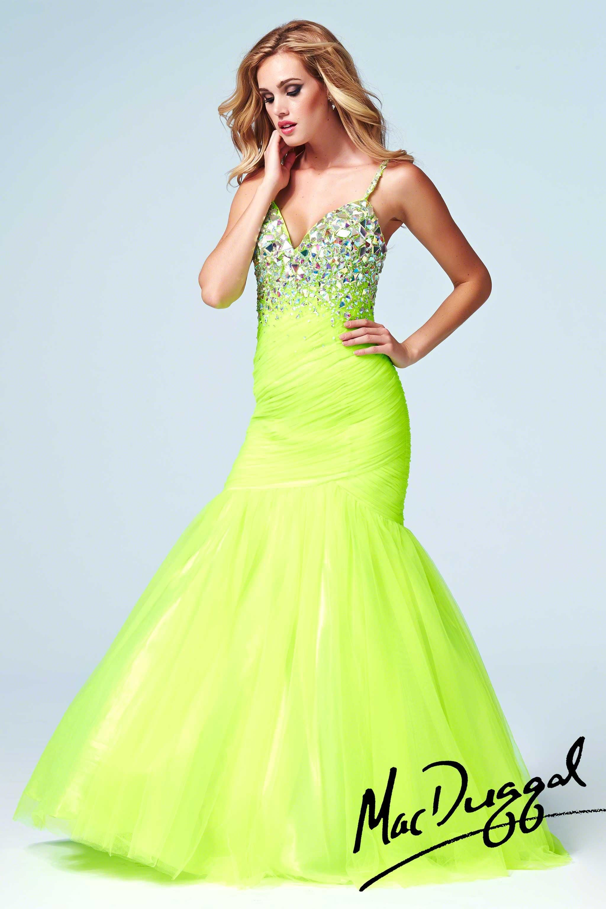 Neon Lime Green Mermaid Cassandra Stone Mac Duggal Prom Gown ...