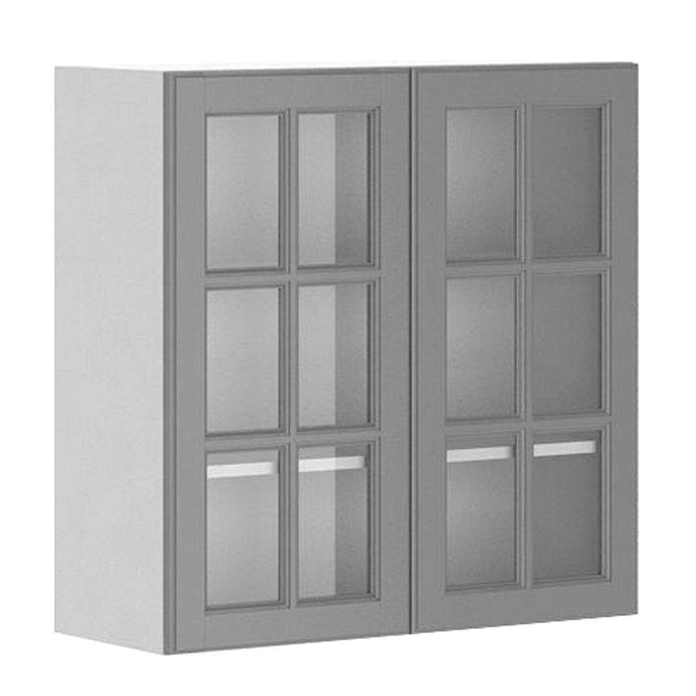 30x30x12 5 In Buckingham Wall Cabinet In White Melamine And Glass Doo With Images Glass Kitchen Cabinet Doors Kitchen Cabinets Home Depot Glass Kitchen Cabinets