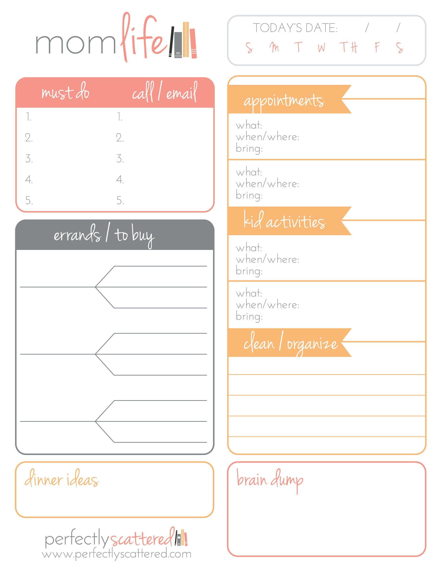 Free Printable Daily Planner for Moms Free Printables Pinterest