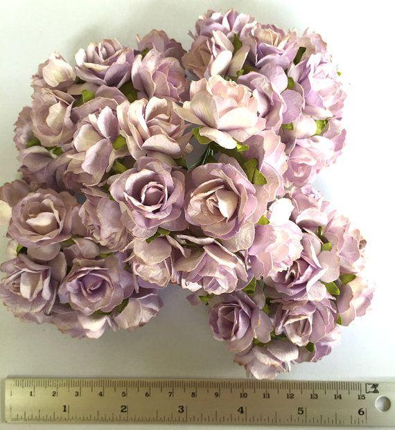 50 Light Violet Color Mulberry Paper Flower Roses By Gafeelshop