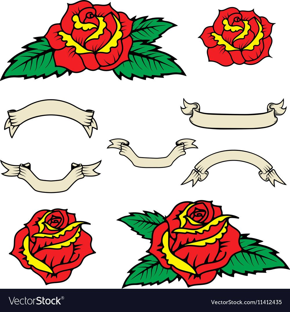 Set of the old school style roses with leaves Vector Image
