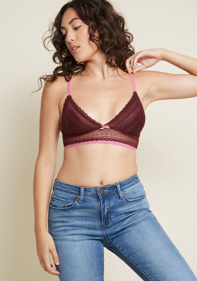 62c86526ff8c0 Your Will to Chill Lace Bralette in Burgundy in S - Spaghetti Straps
