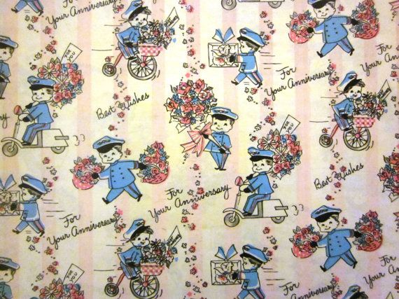Vintage Wrapping Paper  Happy Anniversary  Full by TillaHomestead, $6.50