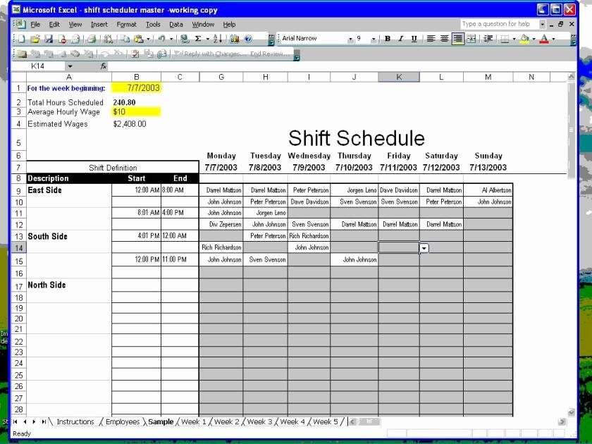 40 Excel Employee Schedule Template Schedule Template Master
