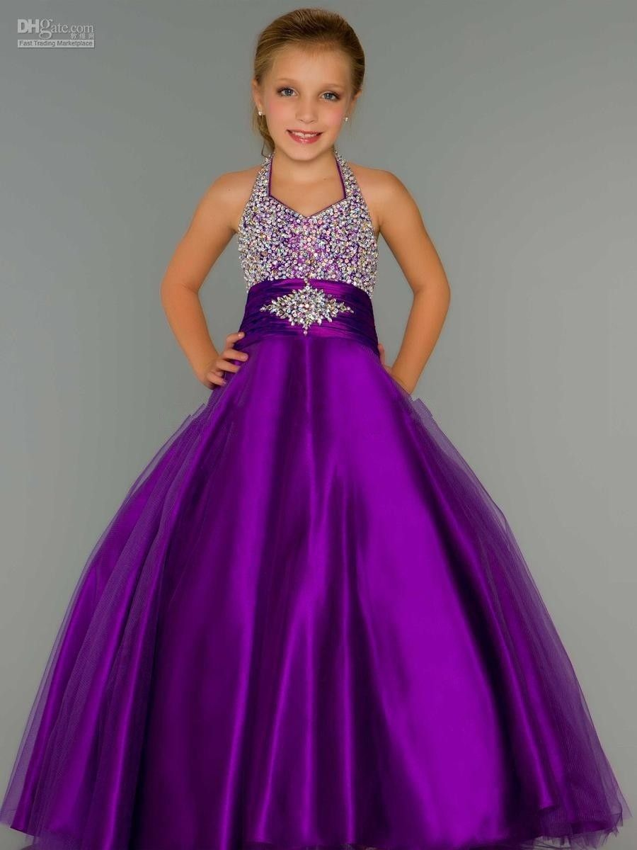 Hot Sale Purple Halter Girls Pageant Dresses 2015 custom made ...