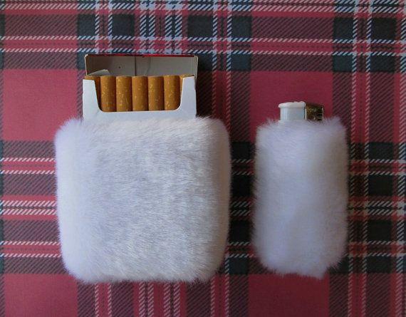 White Fluffy Cigarette Case Fuzzy Lighter Case Cute by Kerenika