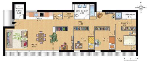 plan maison contemporaine plain pied 3 chambres