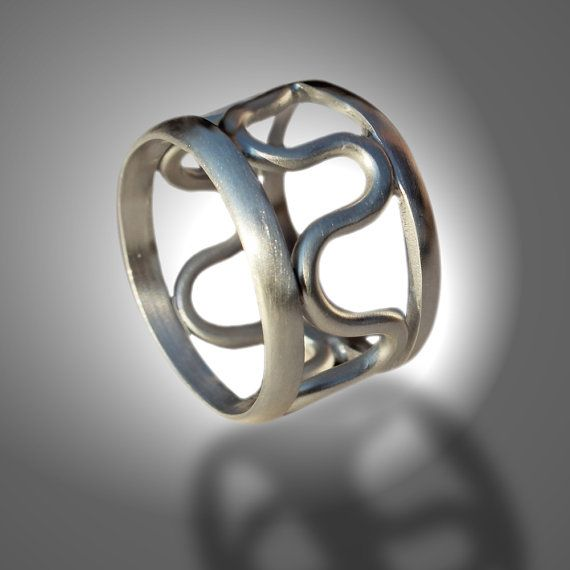 silver ring, silver band, handmade sterling silver ring, Wave Ring