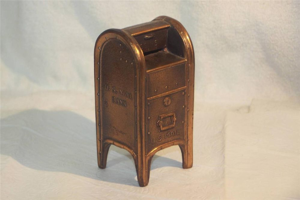 Vintage US Mail Mailbox Bronze Pot Metal Still Piggy Bank