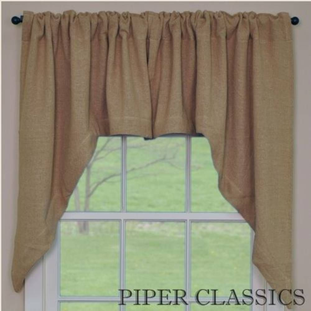 Burlap Natural Swags  Swag Curtains Rod Pocket And Burlap Interesting Swag Curtains For Kitchen Design Inspiration