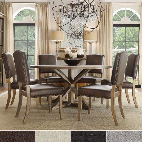 Benchwright Rustic X Base Round Pine Wood Nailhead 7 Piece Dining Set By  INSPIRE Q Artisan | House Decor | Pinterest | Artisan, Pine And Dining