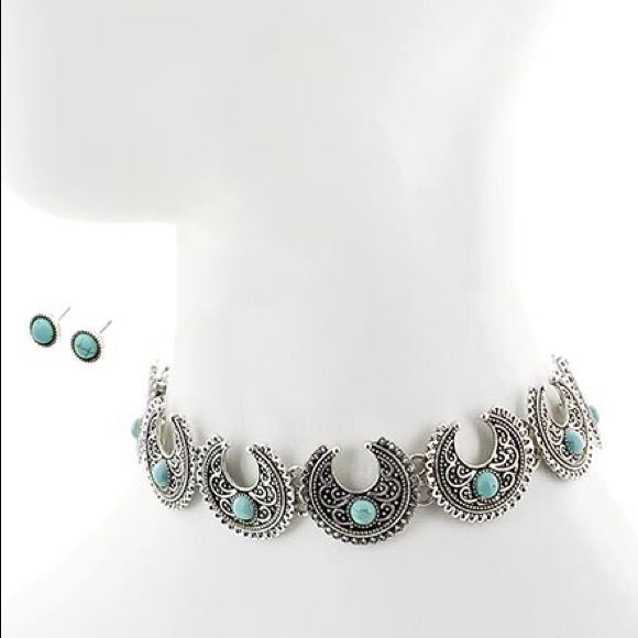 "Turquoise Stone Chocker Necklace set Burnished Silver Tone / Turquoise Stone / Metal / Post (earrings) / Choker Style / Necklace & Earring Set •   ChiqStyle No : 00521042 •   LENGTH : 12 1/2"" + EXT •   EARRING : 3/8"" DIA •   DROP : 1""  •   B.SILVER/TURQUOISE Jewelry Necklaces"