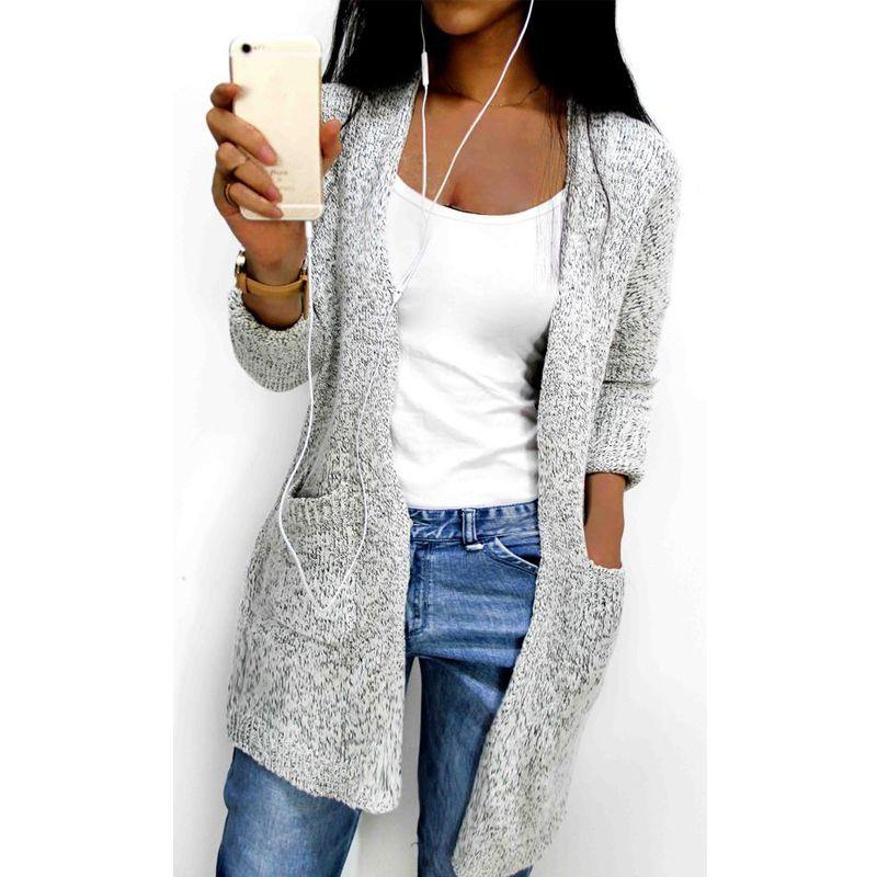 Hot 2017 Autunno Inverno Maglia A Manica Lunga sciolto maglia cardigan  maglione tasca cadigan Donne Femminile 7f8fbdffd