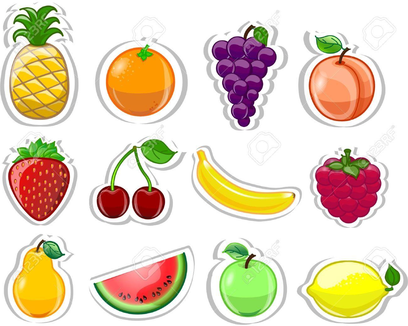 Frutos De Dibujos Animados Ilustraciones Vectoriales Clip Art Vectorizado Libre De Derechos Image 131 Fruta Para Ninos Alimentos Preescolar Formas Para Ninos