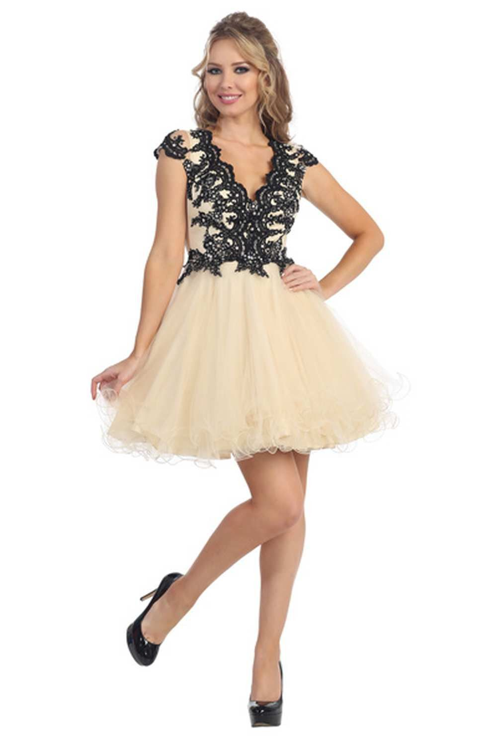 Short Prom Dress Formal Homecoming Cap Sleeve