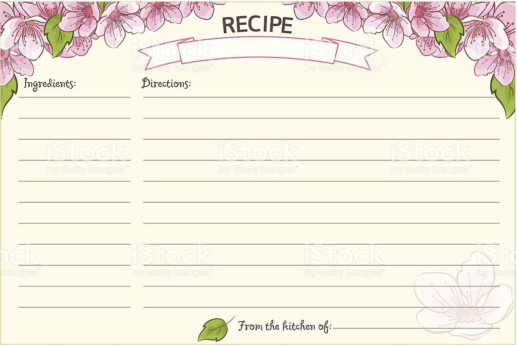 Old Fashioned Recipe Card Template Floral Stock Vector Art Recipe Cards Template Card Template Printable Recipe Cards