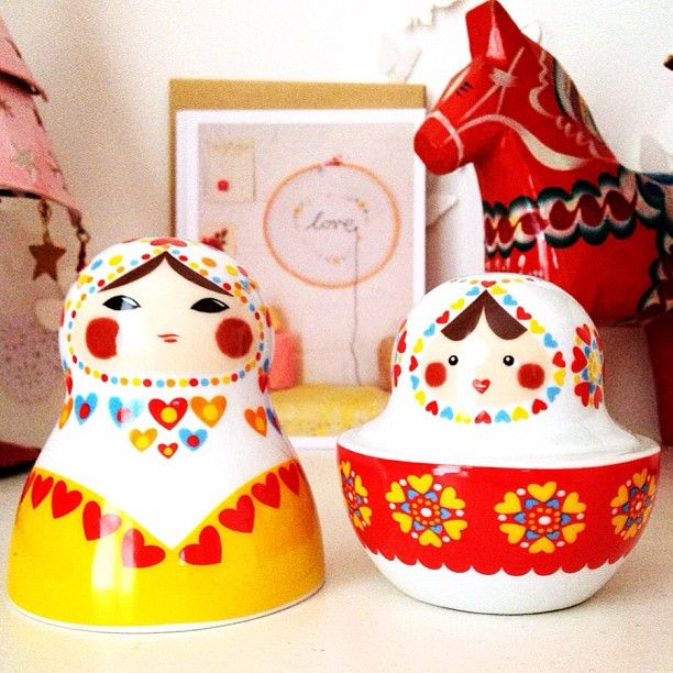 Matryoshka doll stackable salt and pepper pots from Salt n pepper pots