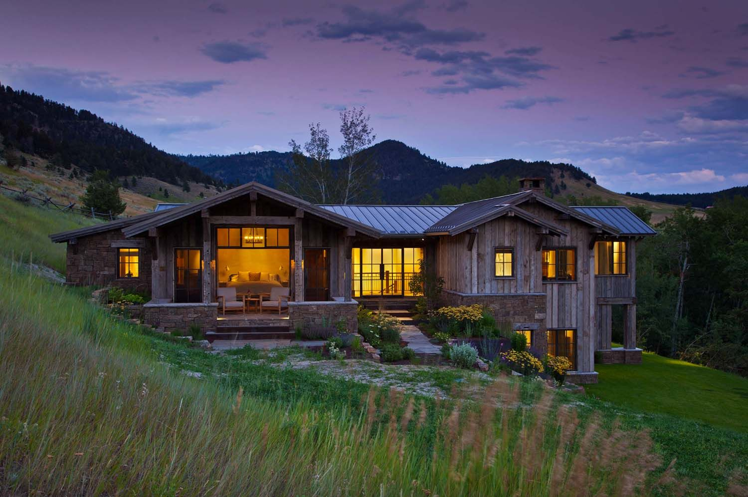 Rustic mountain retreat nestled in the Bridger Mountain foothills ...