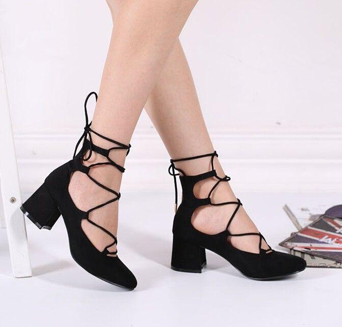 Zapatos de tacón alto de tacón alto con cordones de las mujeres de los tacones altos de las mujeres bombas de tobillo de la correa del tobillo 9iHpIR