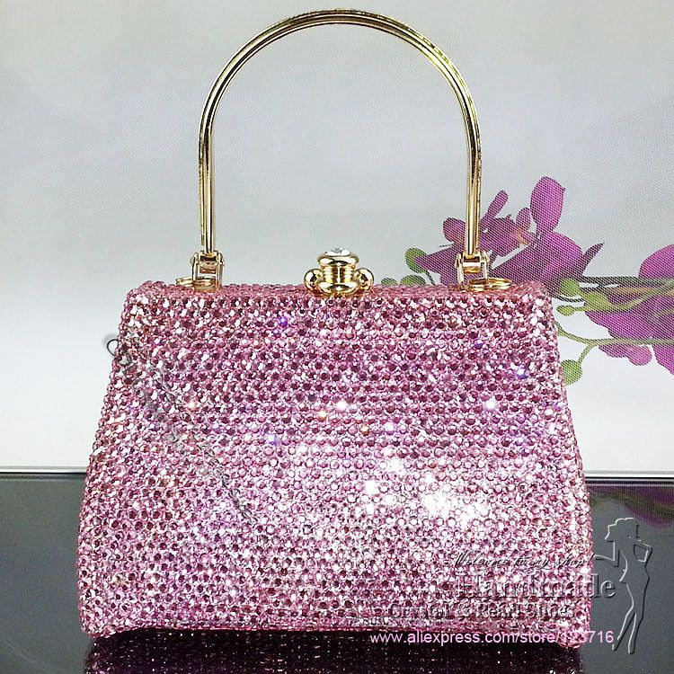 Designer Evening Purse Clutch Bags For Women Wedding Bag Bridal Party With Pink Crystals 168 30