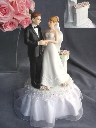 Wedding Cake Topper Rose Garden Bride And Groom