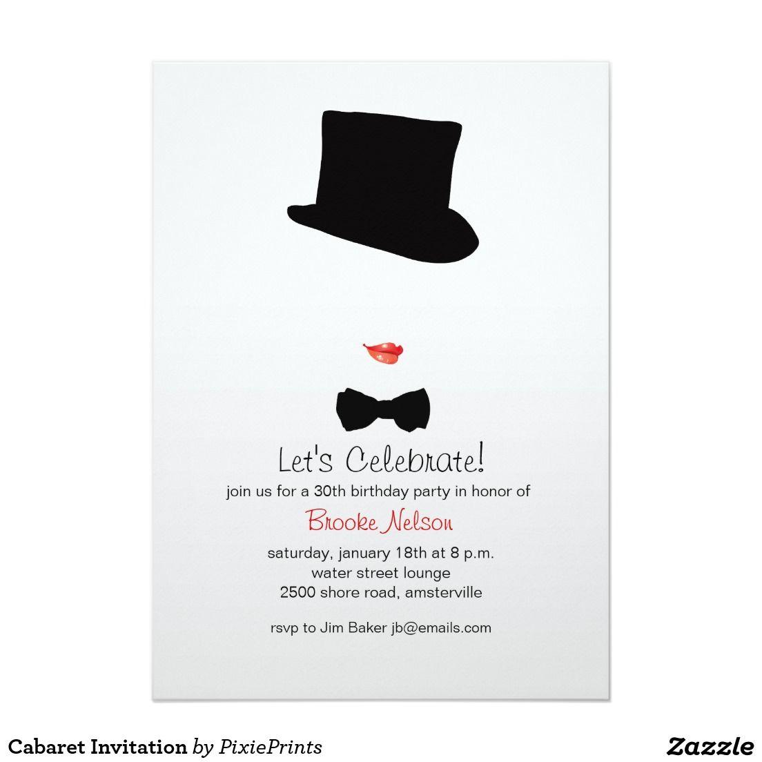 Cabaret Invitation   Cabaret, Bachelorette parties and Invitation ...