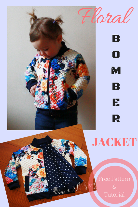 Floral Bomber Jacket: Tutorial and Free Pattern | Freebooks nähen ...