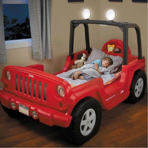 Toddler Bed Boys Jeep Race Car Red Kids Bedroom Furniture Room Toy