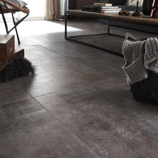 Carrelage int rieur factory artens en gr s gris oxido 60 for Carrelage interieur leroy merlin