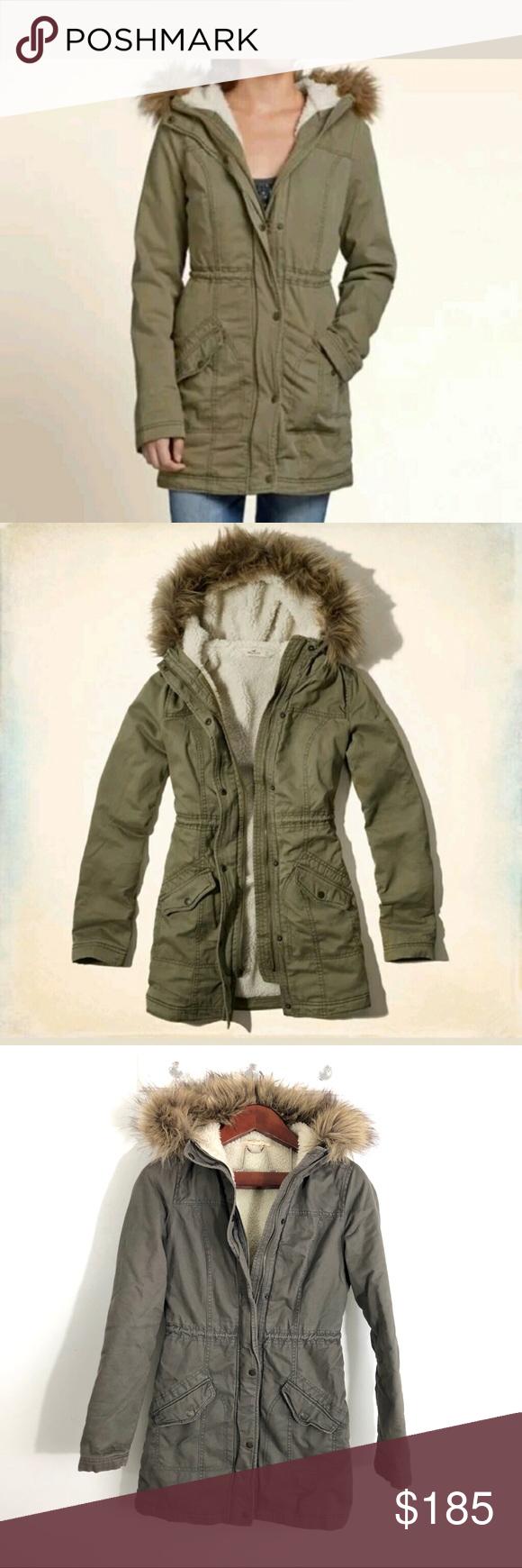 Hollister Olive Green Hunter Trench Fur Coat S Fur Coat Hollister Hollister Jackets [ 1740 x 580 Pixel ]