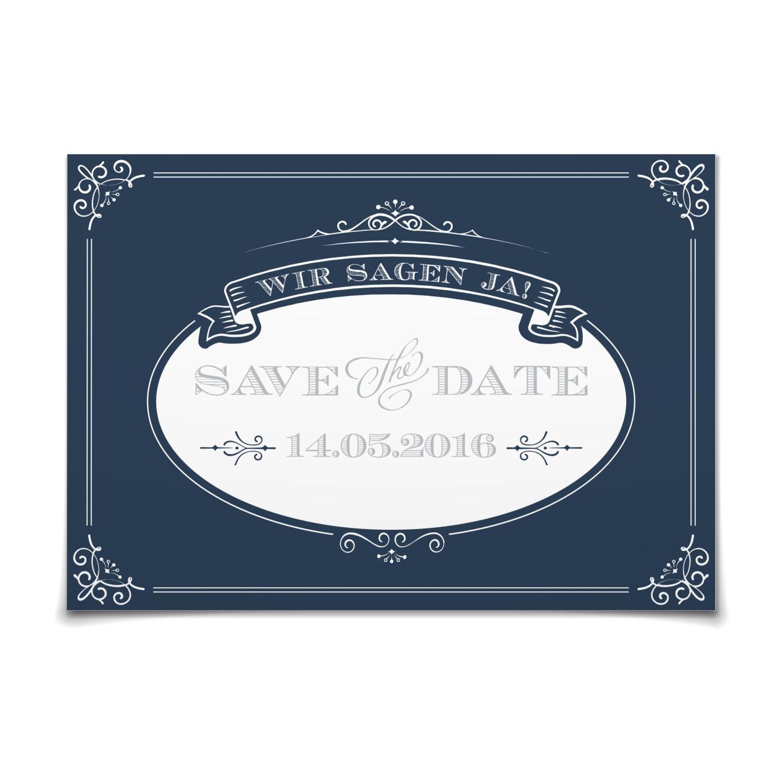 Save The Date Noblesse In Ozean Postkarte Flach Hochzeit