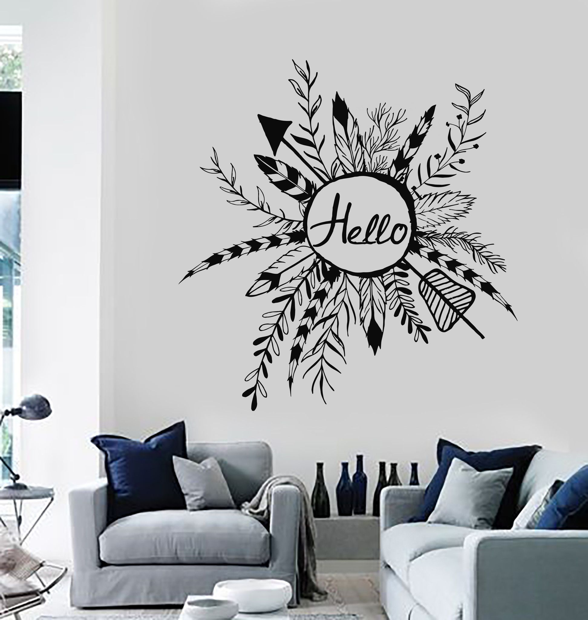 Vinyl wall decal rustic style wreath hello ethnic arrows feathers vinyl wall decal rustic style wreath hello ethnic arrows feathers stickers ig4047 amipublicfo Images
