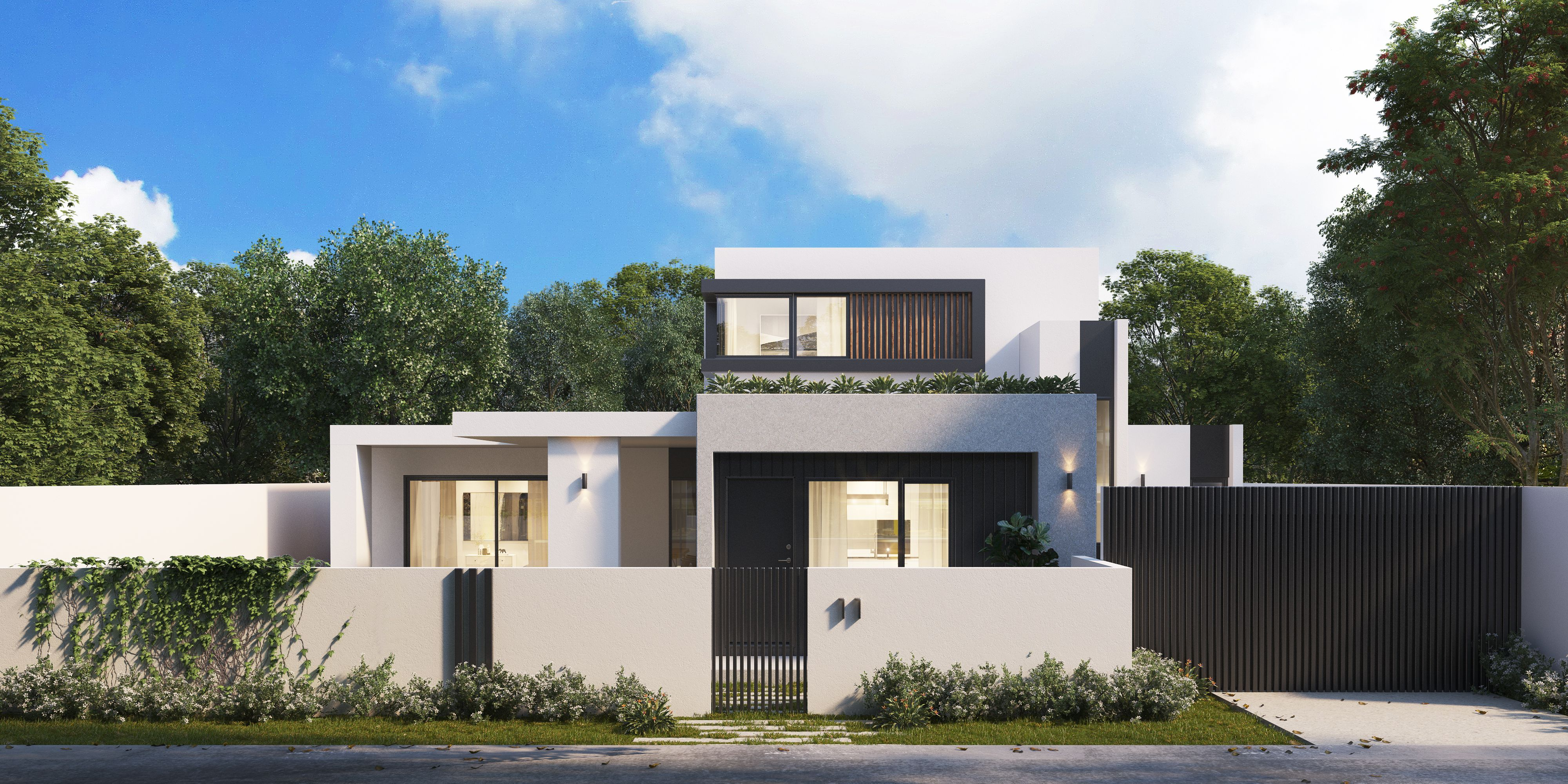 Exterior Facade Of Modern Cubic Double Storey House Designed By L8 Studio Modern House Plans Modern House House Plans