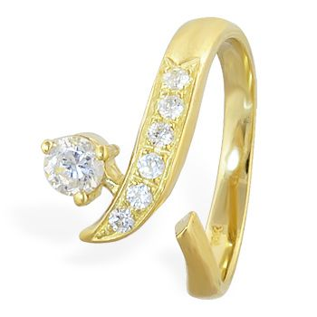 07b1ba8435dd5 10K solid gold toe ring with paved stones and large gem   Toe Rings ...