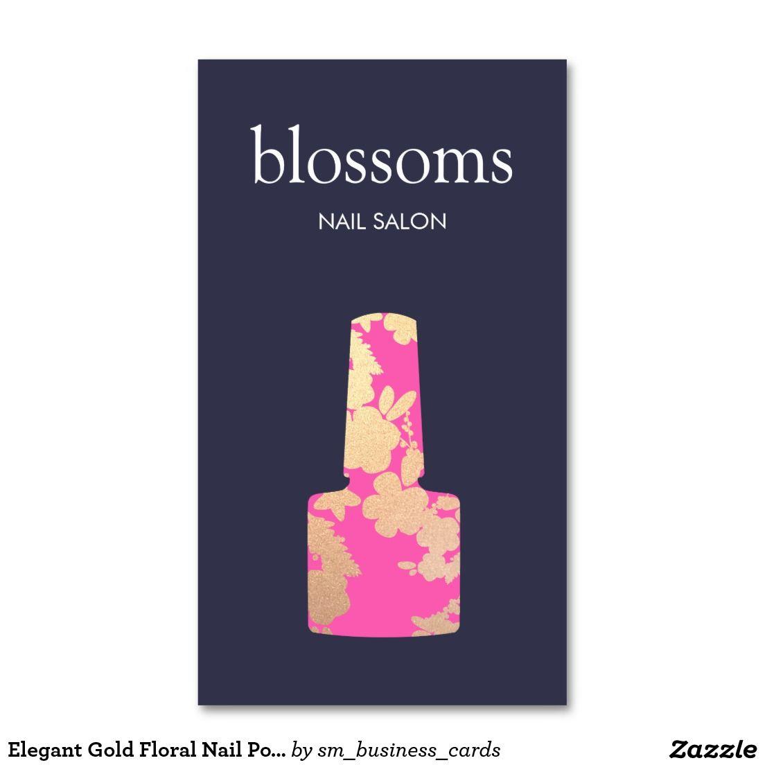 Nail Salon Gold Glitter Floral Business Card | Nail salons ...