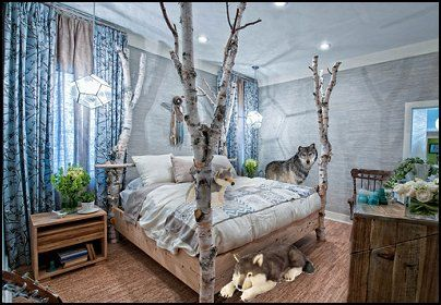 Forest wallpaper for bedroom decorating ideas wolf for Forest themed bedroom ideas