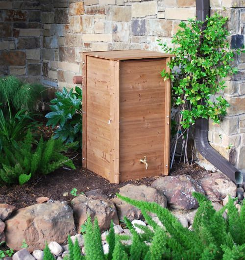 Square Wooden Barrel Hmmm Rain Barrel Going Home To Roost With Images Rain Barrel Outdoor Water Features