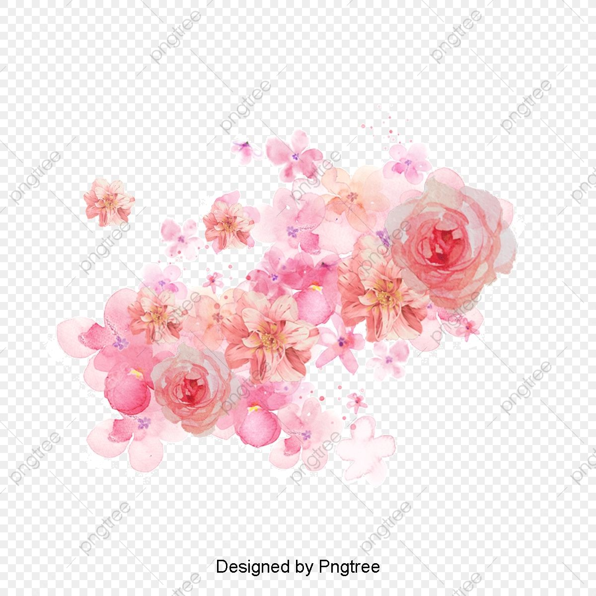 Peony Flower Watercolor Painted Floral Elements In 2020 Peony
