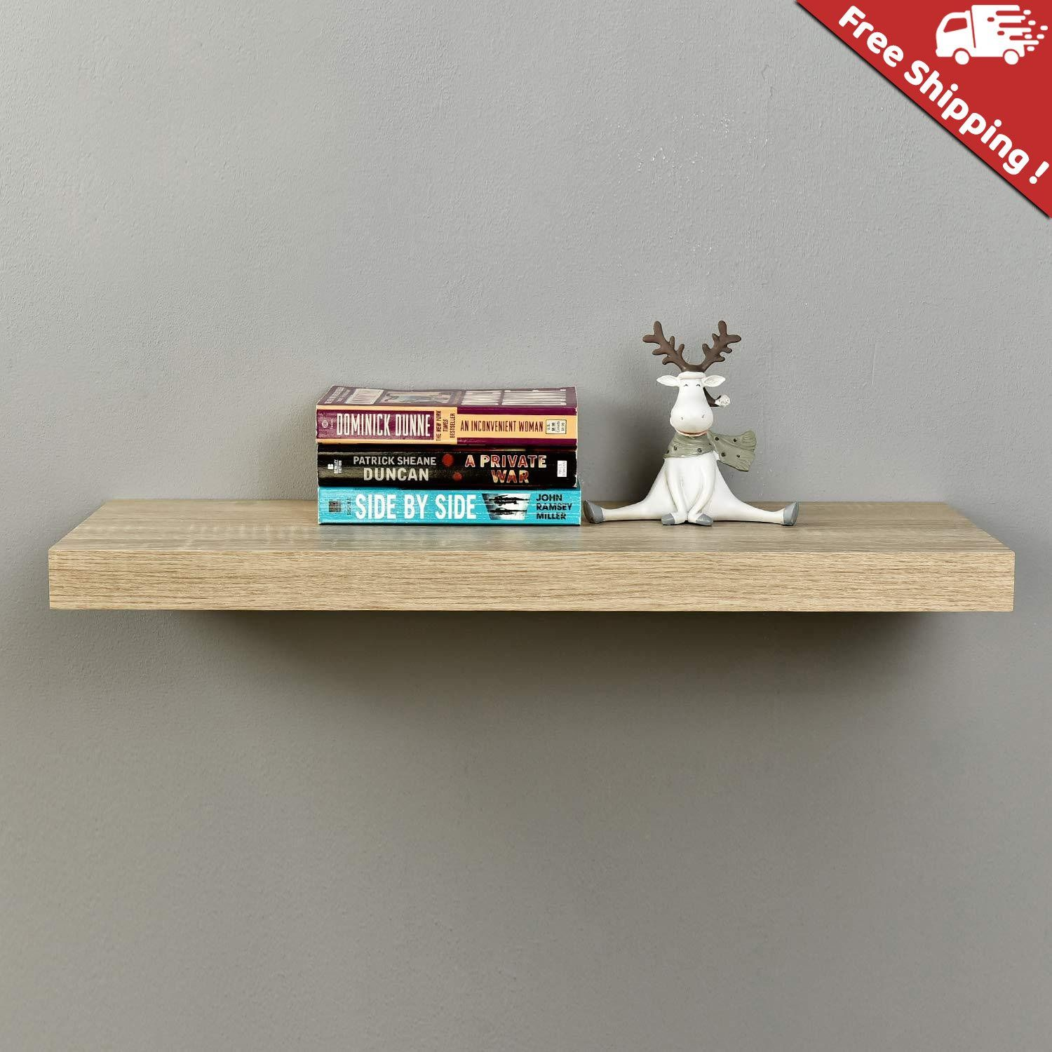 Elisa Oak Floating Wall Shelf 24 L X 8 75 D X 1 5 T Floating Shelves Floating Wall Shelves Floating Wall