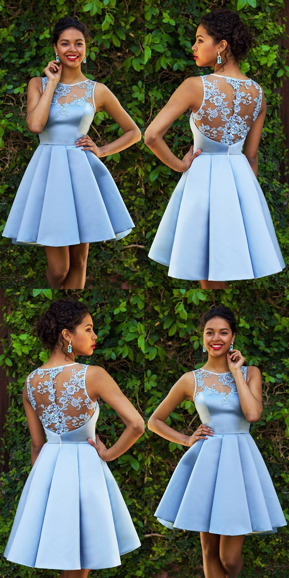 Sky Blue Homecoming Dresses,Lace Homecoming Dress,